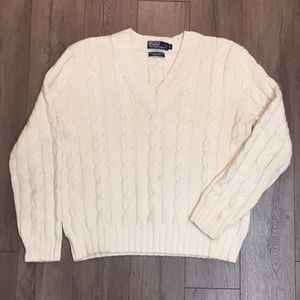 Polo Men's White Cable Knit V-Neck Sweater